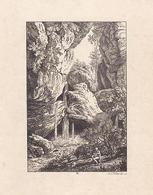 DORFSTEIN / SÄCHSISCHE SCHWEIZ. Nahsicht mit Wasserfall, vorn rechts rastender Jäger...