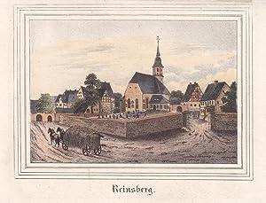 REINSBERG bei Freiberg. Ansicht der Ortsmitte mit Kirche und Burg, vorn links Fuhrwerk mit Heu. ...