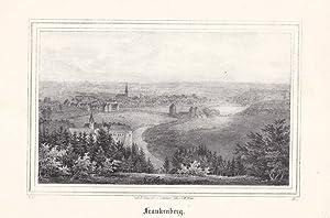 FRANKENBERG. Gesamtansicht von einer Anhöhe über der Sachsenburg. Lithographie von C.W. ...