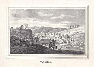 HOHNSTEIN / SÄCHSISCHE SCHWEIZ. Gesamtansicht von einer Anhöhe, links die Burg, im ...