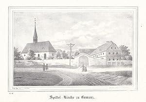 KAMENZ. Ansicht der Spittel-Kirche, davor Spaziergänger. Lithographie von Renner und Ketzschau...