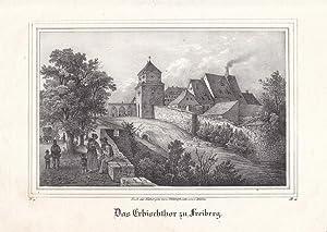 """FREIBERG. """"Das Erbischthor"""". Ansicht mit angrenzenden Gebäuden, auf der Straße..."""
