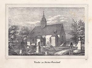 FÖRDERGERSDORF bei Tharandt. Ansicht der Kirche. Anonyme Lithographie um 1835. Bildgrö&...