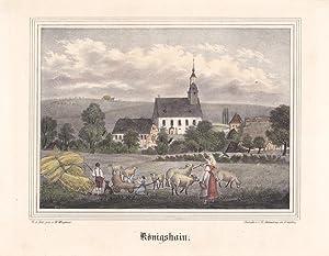 KÖNIGSHAIN bei Rochlitz. Teilansicht mit Kirche, im Vordergrund Ernteszene mit Familie und ...