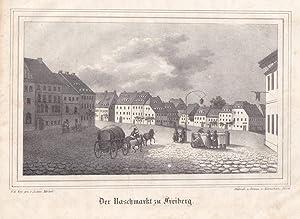 """FREIBERG. """"Der Naschmarkt"""". Ansicht, im Vordergrund Fuhrwerk mit Bierfaß und Frauen..."""