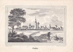 RIESA-GRÖBA. Gesamtansicht des Ortsteils Gröba mit Schloß und Kirche, auf der Stra&...