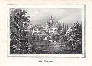 HAINEWALDE bei Großschönau / Oberlausitz. Nahsicht des Schlosses mit Brücke ...