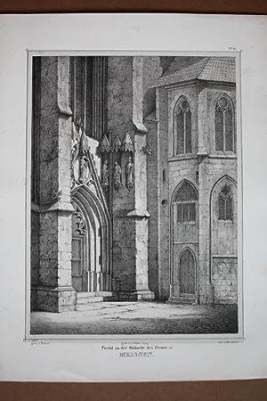 """MEISSEN. Dom. """"Portal an der Südseite des Domes"""". Detailgetreue Darstellung mit den ..."""