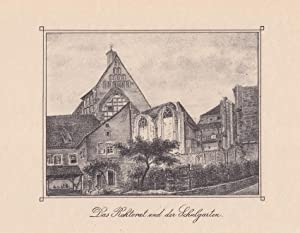 """MEISSEN. Alte Stadtschule (ehemals Franziskanerkloster). """"Das Rektorat und der Schulgarten&..."""