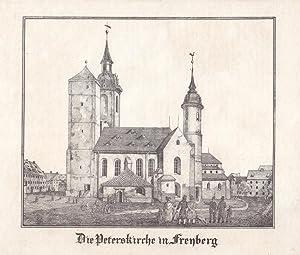 """FREIBERG. """"Die Peterskirche"""". Nahsicht, davor mehrere Betrachter. Anonyme ..."""