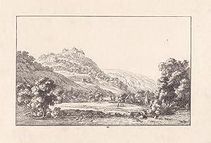 AUGUSTUSBURG. Blick von der Flöha im Tal auf das Schloß, im Vordergrund drei Frauen beim...