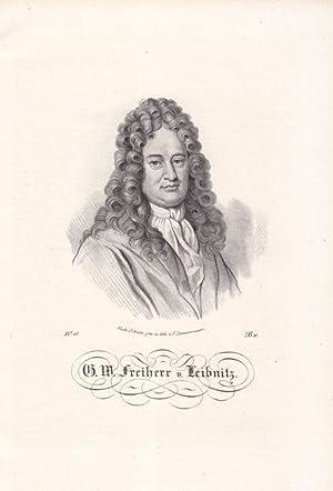 LEIBNITZ, GOTTFRIED WILHELM FREIHERR VON. (1646 Leipzig - 1716 Hannover). Porträt. Brustbild ...