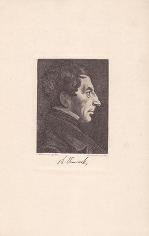 SIMROCK, KARL (1802 Bonn - 1876). Porträt. Markantes Brustbild im Profil nach rechts. ...
