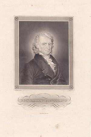 CONSTANT, BENJAMIN (1767 Lausanne - 1830 Paris). Porträt. Brustbild. Stahlstich von Hoff nach ...