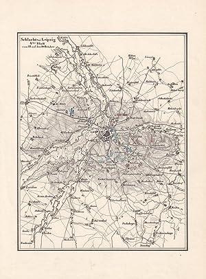"""LEIPZIG, Völkerschlacht. """"Schlacht bei Leipzig den 16. 17. 18. und 19. Octob. 1813""""...."""