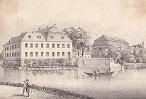 COSTEWITZ bei Pegau. Blick über den Teich mit Ruderboot auf das Schloß-Areal, vorn links...