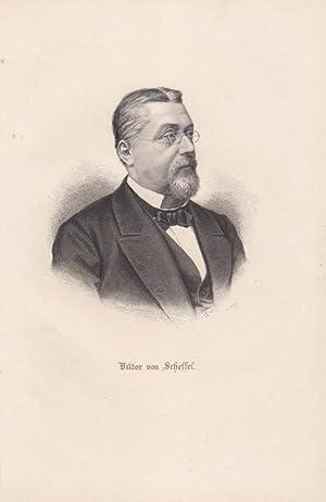 SCHEFFEL, VICTOR VON. (1826 Karlsruhe - 1886). Porträt. Brustbild mit Brille nach ...