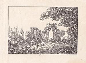 ALTENZELLA bei Nossen. Ansicht der Klosterruine mit der Wettiner-Begräbnisstätte, davor ...