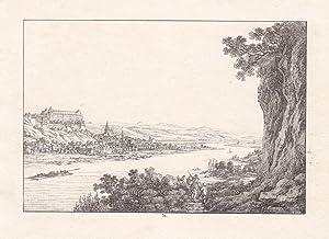 PIRNA. Gesamtansicht mit Sonnenstein von den Postaer Weinbergen über die Elbe, im Hintergrund ...