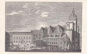 LEIPZIG. Ansicht der Nikolaikirche mit Buchhändler-Börse, davor Markt-Treiben. Holzstich ...