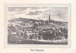 DORFCHEMNITZ bei Zwönitz. Schöne Gesamtansicht mit Kirche. Lithographie von Renner und ...