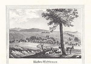 """LICHTENAU bei Königsbrück. """"Nieder-Lichtenau"""". Gesamtansicht von einer Anh&ouml..."""