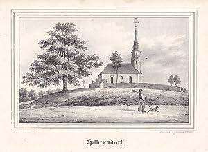 HILBERSDORF bei Niebra. Ansicht der Kirche, auf der Straße vorn Landsmann mit Hund und ...