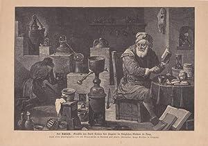 Der Alchimist. Holzstich um 1880 nach einem Gemälde von David Teniers dem Jüngeren (1610 ...