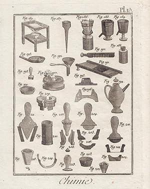 Chemie. Darstellung chemischer Geräte, Kupferstich um 1780. Blattgröße 21 x 15,9 cm...