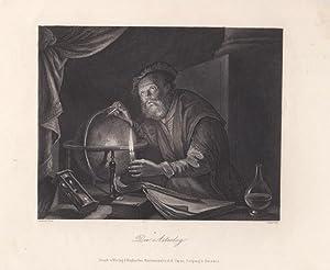 """Der Astrolog"""". Stahlstich um 1850 von Appoldt nach einem Original von Gerard Dou (1613 - 1675)..."""