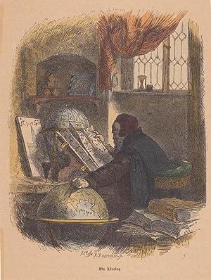 Ein Astrolog. altkolorierter Holzstich von A.Closs um 1878. Blattgröße: 17,8 x 13,5 cm.