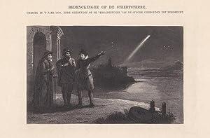 Astronom, Sternschnuppe. Darstellung aus einer Schrift von Jacob Cats (1577 - 1660). Blattgrö&...
