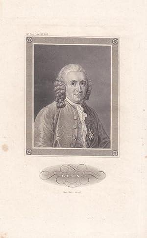 Botanik. Kupferstich, Brustbild Carl von Linné (1707 - 1778). Blattgröße: 23 x ...