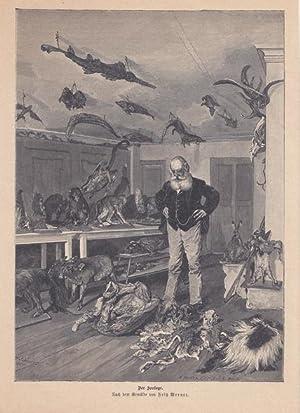 Der Zoologe, Holzstich um 1880 von G. Heuer und Kirmse X.A. nach dem Gemälde von Fritz Werner....
