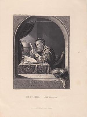 Der Gelehrte, The Scholar. Stahlstich von W.