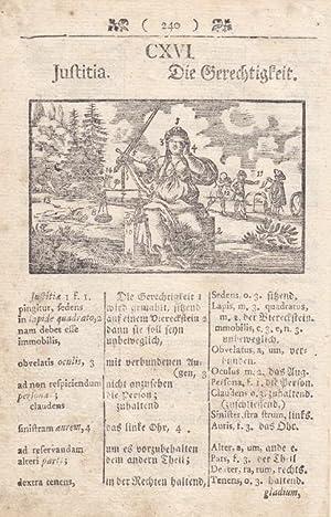 Justitia, Die Gerechtigkeit. Holzschnitt um 1750. Blattgröße: 16,2 x 10,5 cm. reine ...