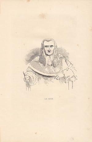 """Le juge, der Richter"""". Holzstich um 1840 nach Meadons. Blattgröße: 15,2 x 16,5 cm. ..."""