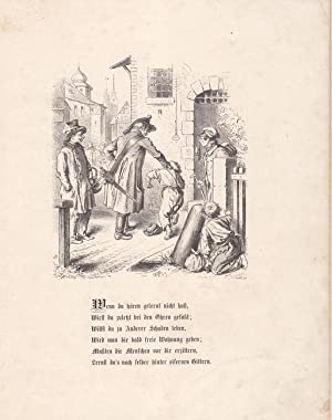 Der Polizist. Holzstich 1863 von Gocht nach Oscar Pletsch (1830 - 1888). Blattgröße: ...