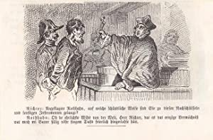 Der Richter, Humoristische Gerichtsszene mit Text. Federlithographie um 1850. Blatt-, Bildgrö&...