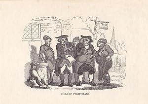 """Village Politicians"""", Der Dorfrat. Holzschnitt 19. Jhd. Blatt-, Bildgröße: 10,5 x ..."""