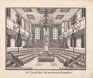Parlament, Unterhaus, Saal der Gemeinen in London. Kupferstich 17. Jhd. Blattgröße: 18,5...
