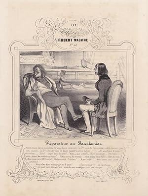 Lehrer, Vorbereitung zum Abitur. Lithographie nach Honoré Daumier (1808 - 1979). ...