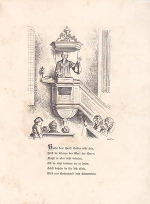 Abbildung eines Pfarrers von der Kanzel zu seiner Gemeinde sprechend. Holzschnitt um 1862 von Gocht...