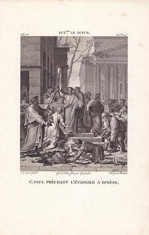 Die Predigt des heiligen Paulus in Ephesus. Stahlstich um 1810 nach einem Original von Eustache Le ...