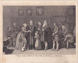 """Dr. Martin Luther s Abschied im Jahre 1546, den 23 Januar zu Wittenberg."""" Stahlstich nach ..."""