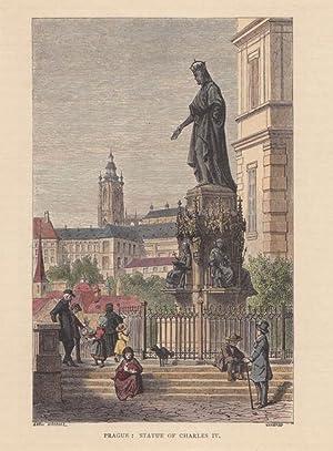 PRAG - Statur von Karl IV, schöner altkolorierter Holzstich von Gusmann nach K. Girardet ...