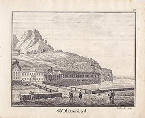 MARIENBAD, Lithographie von Weydner um die Mitte des 19. Jhd., Blattgröße: 16,3 x 19,5 ...