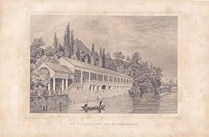 KARLSBAD, Die Colonnaden des Neubrunnens, Stahlstich von J. Poppel um 1840. Blattgröße: ...