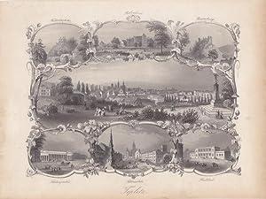 TEPLITZ, Teplice, sehr schönes Blatt in Stahlstichtechnik um 1840, Blattgröße; 17,5...