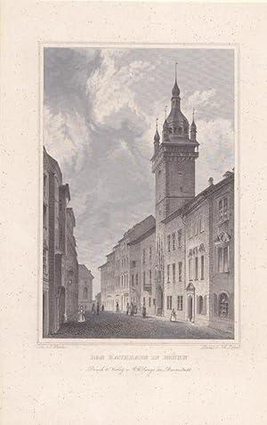 BRÜNN, Brno, das Rathaus der Stadt, Stahlstich um 1850 von Joh. Poppel nach C. Würbs, ...